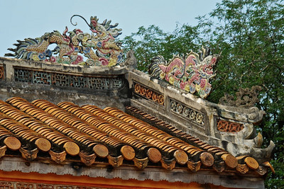 Colorful roof top dragons at Tu Duc tomb (Vietnam)