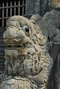 Dragon like creatures line the stone steps at Tu Duc tomb (Hue, Vietnam)