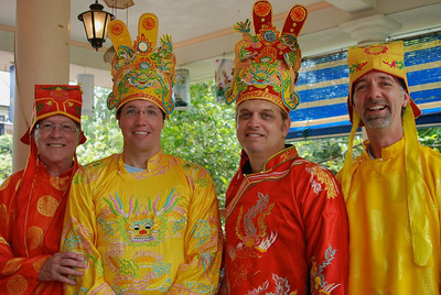 Royalty for sure! Bill, Brett, Wes, and Jerry are ready for Imperial lunch (Hue, Vietnam)