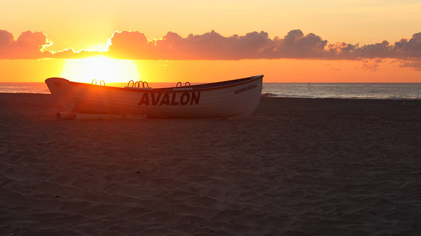 An Avalon, New Jersey lifeguard boat at sunrise.