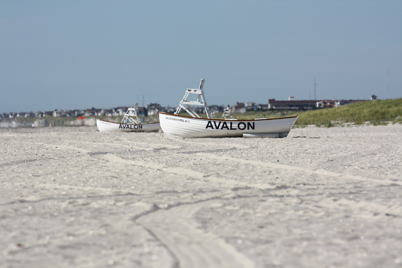 Lifeguard boats early in the morning.  Avalon, New Jersey