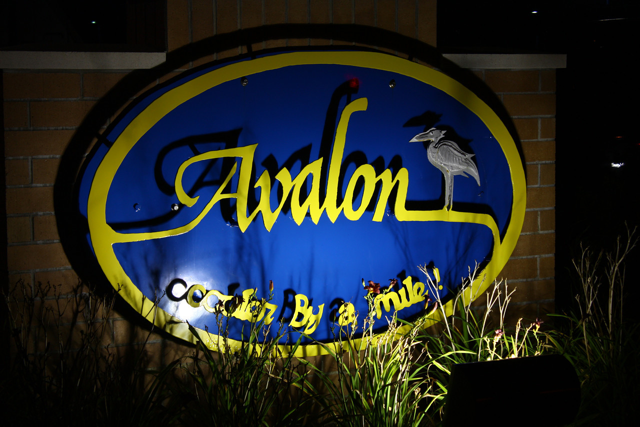 The Avalon sign by the municipal building at night.  Avalon, New Jersey