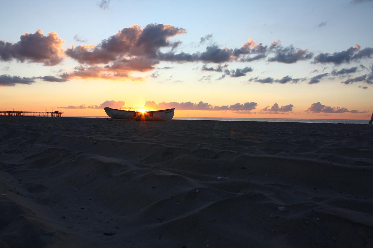 An Avalon lifeguard boat at sunrise.