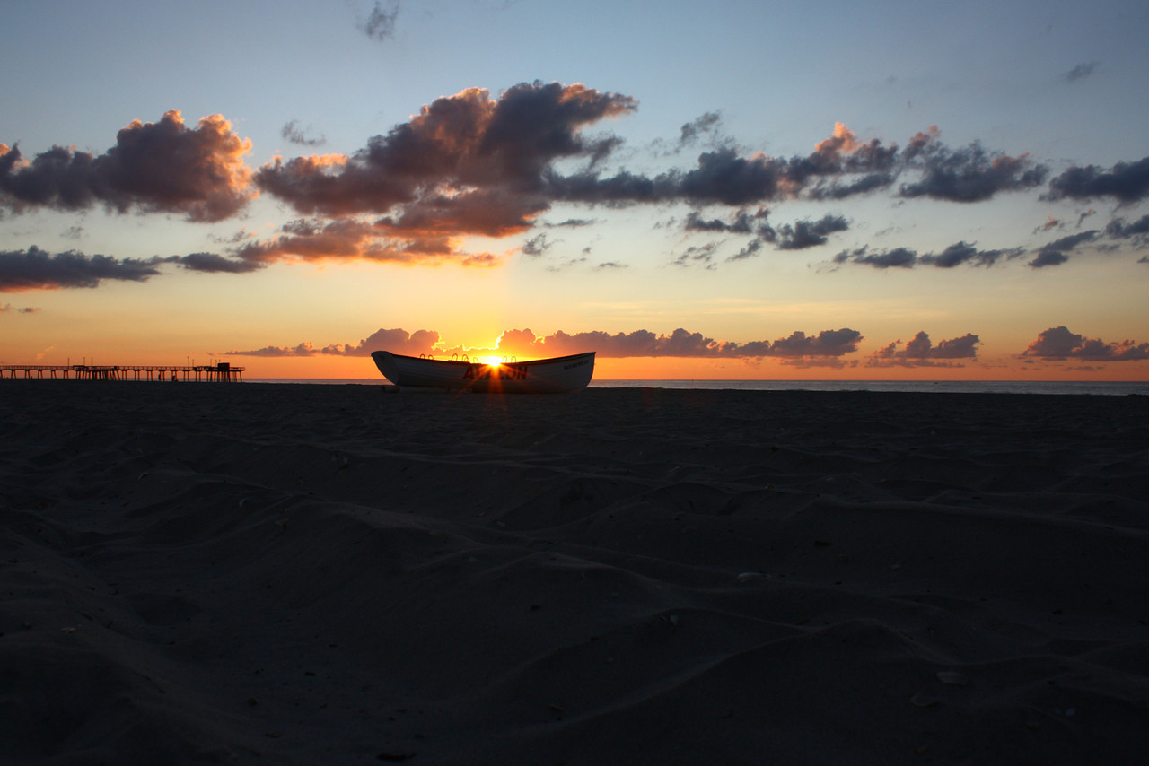 An Avalon lifeguard boat at sunrise.
