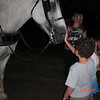 Connor gets to pet Chip the horse after our wagon ride!