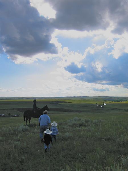 Grandpa Seim, the grandsons and open prairie.