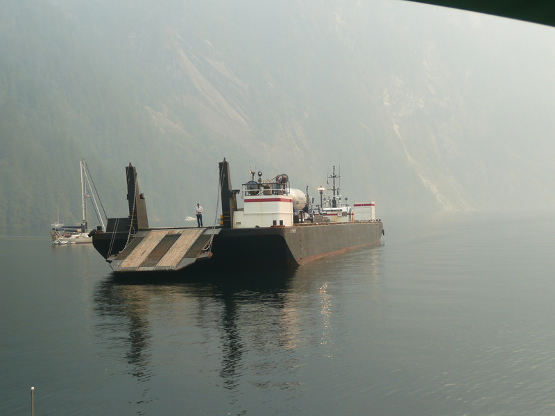 Propane delivery for Rangers Cabin at Chatterbox Falls, big barge.