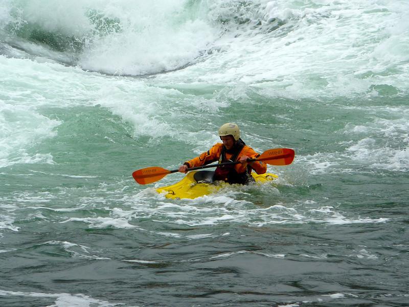 Kayaker in Skookumchuck Narrows during tide change