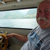 Keith at helm of Leighway. (25 ft. Albin)