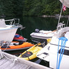"Our ""Flotilla"" of kayaks and dinghy."