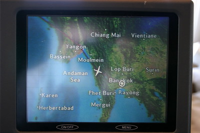 Proof that we're really there.  This is Steve's personal video screen about 45 minutes before landing in Bangkok.