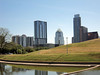 """Downtown Austin skyline. Notice the tall, slender """"USB Thumbdrive"""" building on the right and the lower """"nose hair clipper"""" building in the middle."""