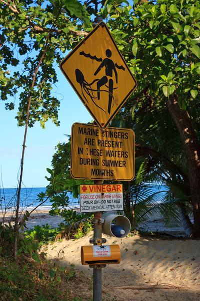 Warning sign against box jellyfish
