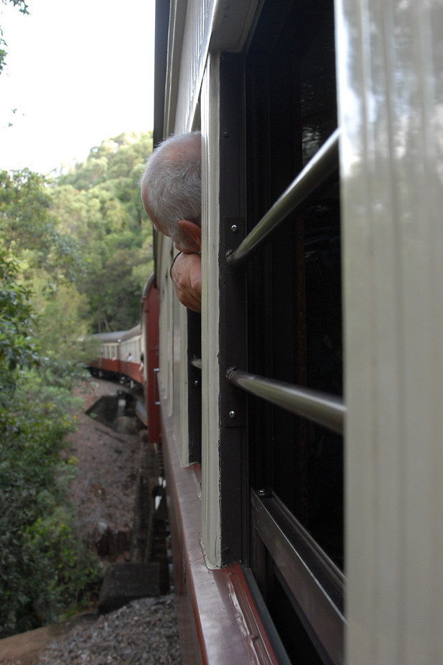 To get back to Cairns we take the train down through the hills.