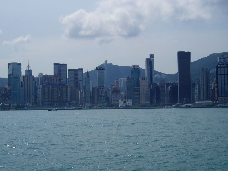 """As we walked along the """"Avenue of Stars"""", we had a wonderful view of the downtown area of Hong Kong."""