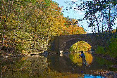 Flyfishing, Wissihickon Creek, Philadelphia, PA