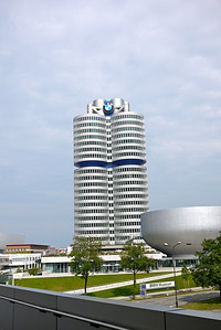 BMW HQ tower and the BMW Museum in front