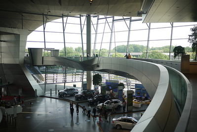 Bridge through the BMW World building and out and across the street to the BMW Museum