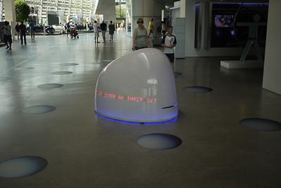 weird robot running around at BMW World