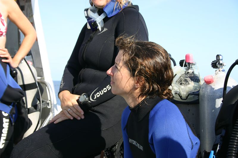 Michele watching the Dive Briefing