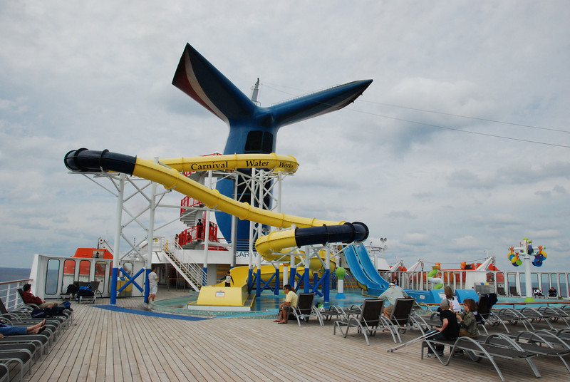 Water slide on the ship