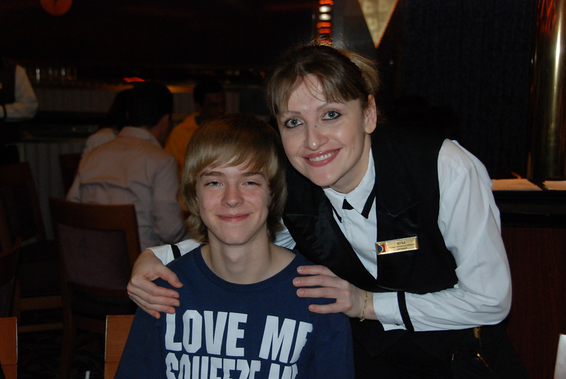 Our waitress Irina with Jeremy.