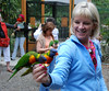 Me feeding the parrots