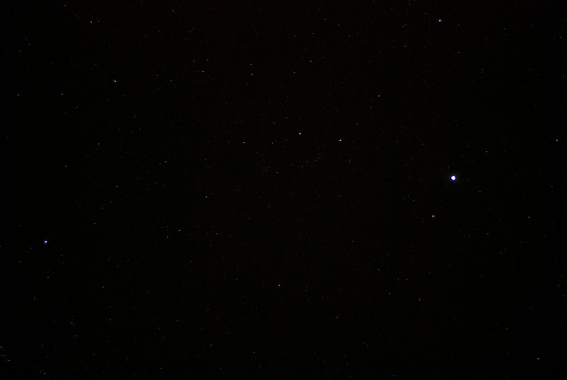 The stars as seen from the bed and breakfast.