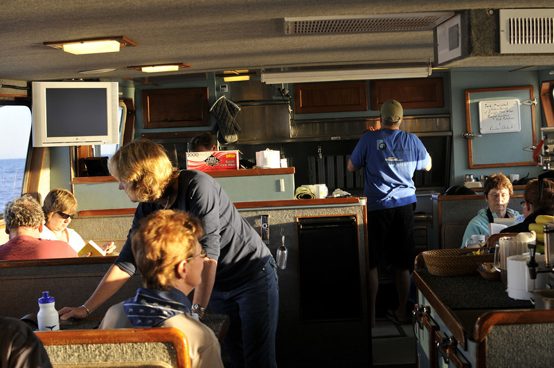 Inside the kitchen / dining area of the Searcher (our boat).
