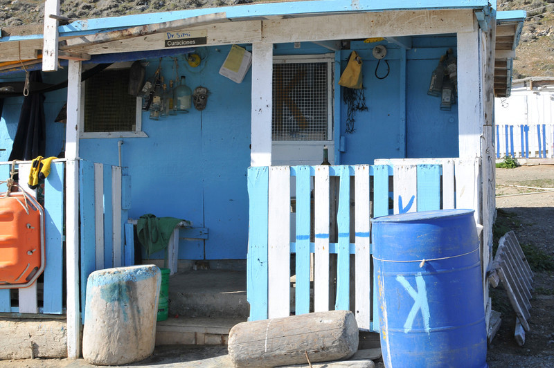 Doctor's office on San Benito.  This Island is only inhabited during Abalone season and <br /> fishing season.  Click on the large pictures and look at the bottles and mask hanging.