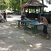 Tourists playing ping pong at the resort on Nusa Lembongan