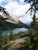 Peyto lake with some sun on it.