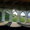 Five images taken with a 180 degree fisheye lens were combined in PTGui to make this equirectangular image for a cubic panorama from inside the cupola near the Bar Harbor Inn.