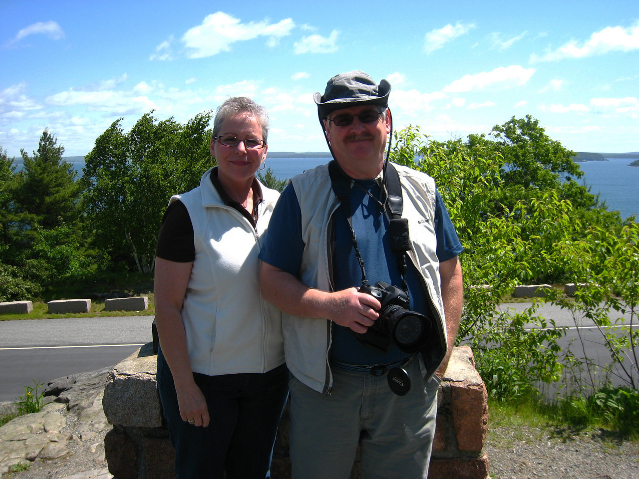 Cathy&Dave (me ) on top of Cadillac Mountain, Bar Harbor Acadia National Park.
