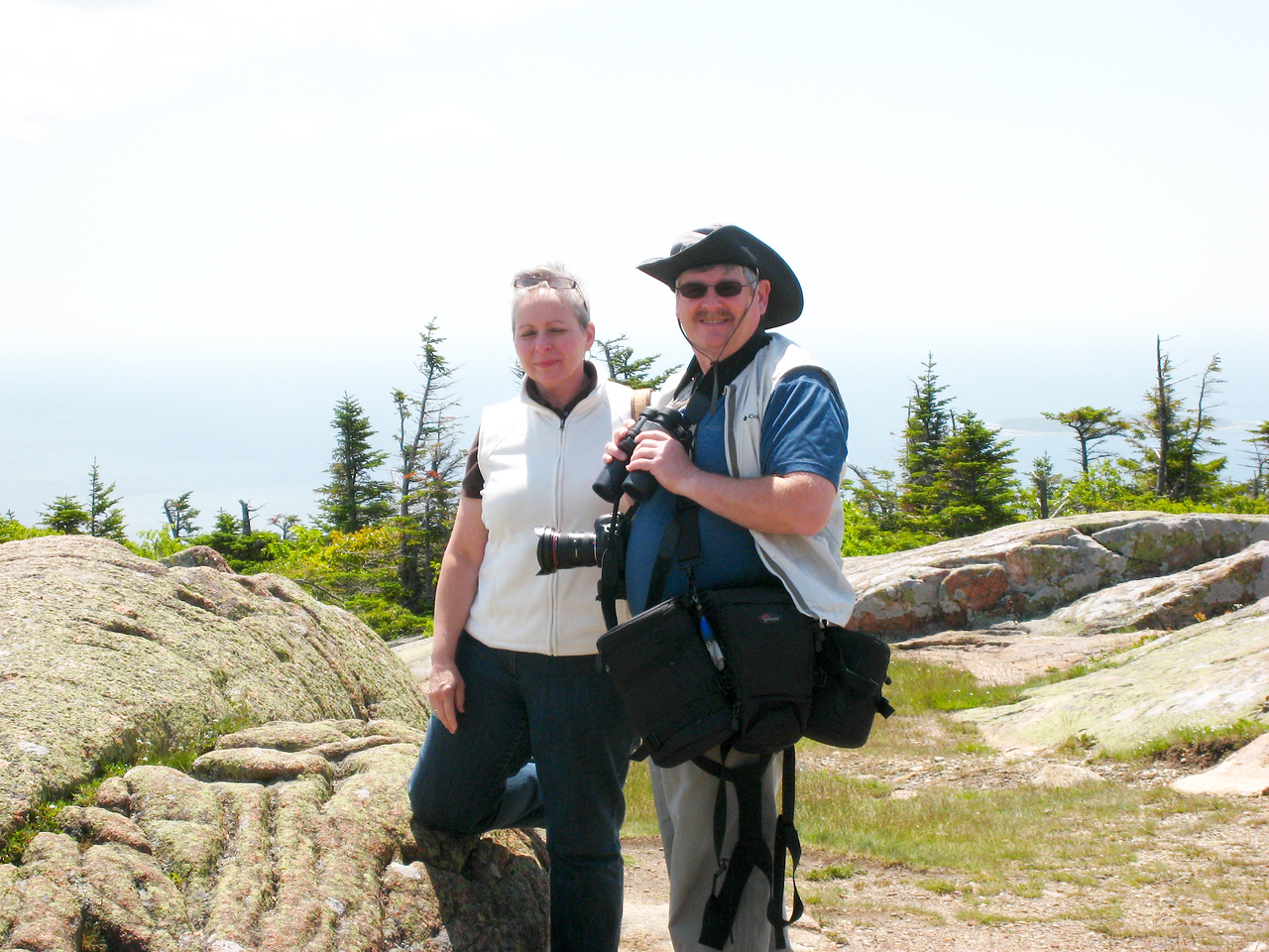 Cathy&Dave (me ) on top of Cadillac Mountain, Bar Harbor,Acadia National Park.