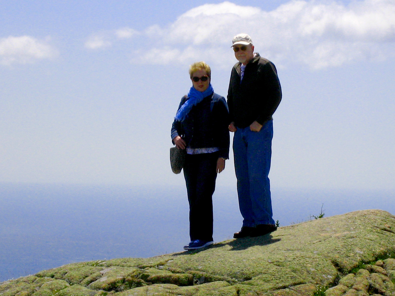 On top of Cadillac Mountain, Bar Harbor,Carol &Scott.Acadia National Park.