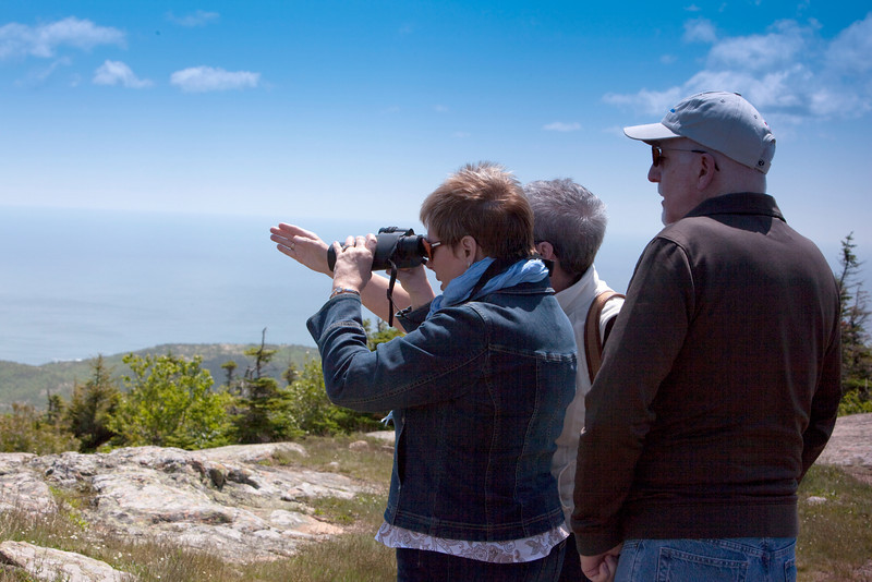 On top of Cadillac Mountain, Bar Harbor Carol, Scott &Cathy.Acadia National Park.