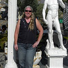 Me with a statue of David at the Mad Greeks in Baker, CA