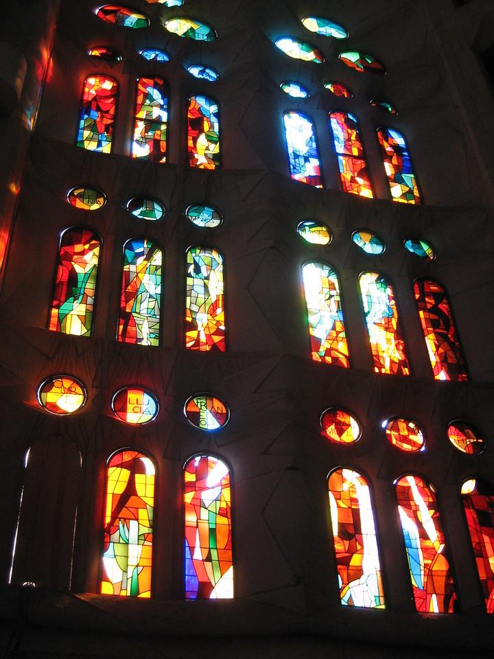 Stained glass window in la Segrada Famila