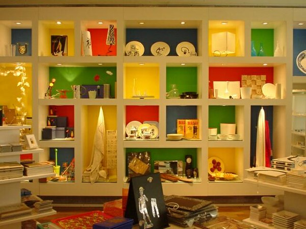 "Museum shop in <a href=""http://www.bcn.fjmiro.es/"" title=""joan miro museum"">the Joan Miro Museum</a>, Barcelona"