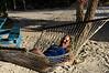Renee taking a break in some comfy hammocks