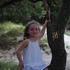 Reese sitting on a tree near the beach on Jekyll Island (we saw a shark nearby and Reese touched it).
