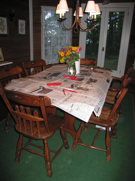 Dining room table, ready for lobster
