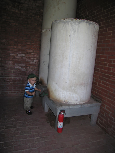 Owen in the oil house of the light house