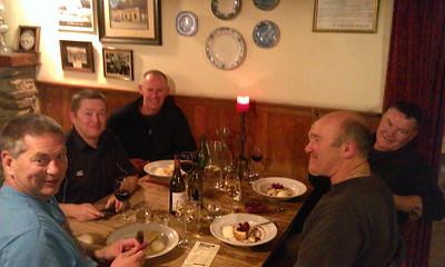 Fine dining at the Cardrona Hotel. L to R: Noel, Tim, me, Derek, Nigel.
