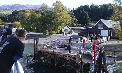 About to dock at Mt Nicholas Station, up Lake Wakatipu. Road from here through to Gore then home to Dunedin. About 360km.
