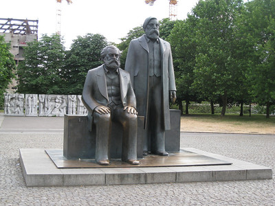 Karl Marx and Freidrich Engels statues in old East Berlin