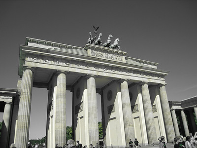 We got a new camera for this trip.  I played with the color enhance modes while taking pictures of the Brandenburg Gate and on Potzdamer Platz.  A couple of the pictures came out pretty cool.  The best thing about this camera, though, is that it fits in my pocket!