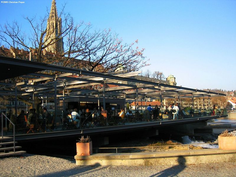 Trendy café and restaurant over the river Aare