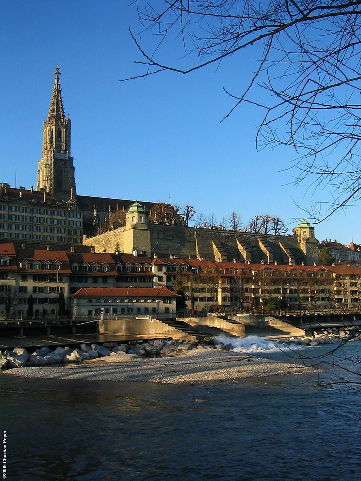 The old city centre of Bern over the Aare